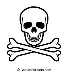Skull and crossbones over white