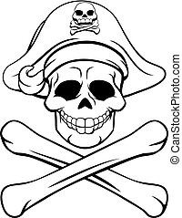 Skull and Crossbones Pirate Cartoon