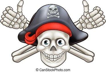Skull and Crossbones Pirate Cartoon - Pirate skull and...