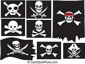 Skull and crossbones. Pirate flags. Vector illustration