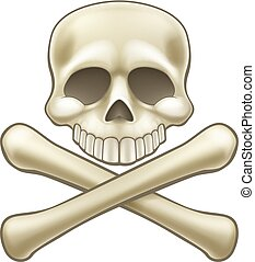 Skull and Crossbones Pirate Sign Cartoon - A childrens...