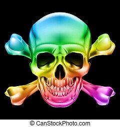 Rainbow Skull and Crossbones. Illustration on black background
