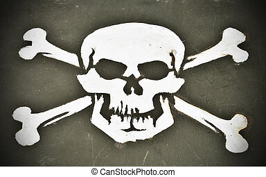 Skull and crossbones painted onto the hood of a WWII military vehicle.