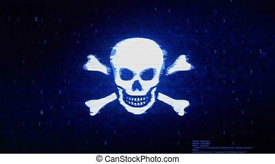 Skull And Crossbones Symbol Abstract Digital Pixel Noise Glitch Error Video Damage Signal Loop 4K Animation.