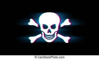 Skull And Crossbones Symbol on Glitch Led Screen Retro Vintage Display Animation 4K Animation Seamless Loop Alpha Channel.