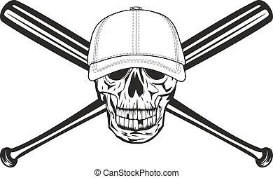 skull and crossed bats - The vector image skull in baseball...