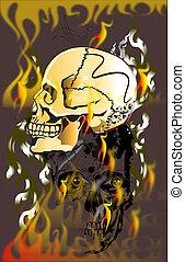 skull and fire danger line Thai decoration art