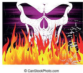 Skull and fire on the dark gradient background