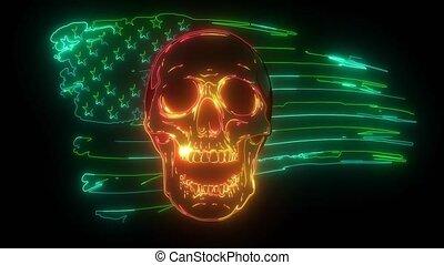 Skull and flag usa. video graphics - Skull and flag usa.  ...
