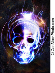 Skull and fractal effect. Color space background, computer collage. Elements of this image furnished by NASA.