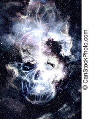 Skull and fractal effect. Color space background, computer collage. Elements of this image furnished by NASA