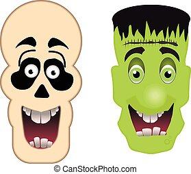 skull and frankenstein