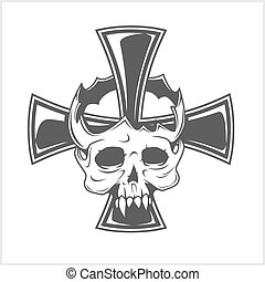 Skull and German cross isolated on white