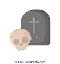 skull and gravestone design