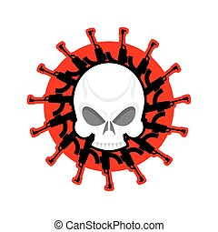 Skull and guns. Head of skeleton and rifles. Military emblem. Army logo. War badge