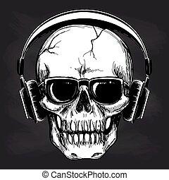 Skull and headphones sketch on blackboard