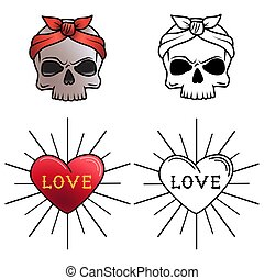 Skull and heart tattoo coloring page