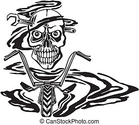 Skull and motor. Vector illustration. - Skull and motor....