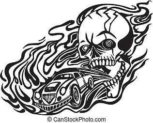 Skull and motor. Vector illustration.