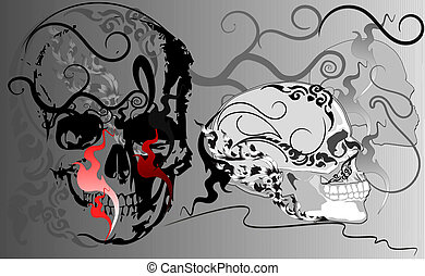 skull and pattern line Thai decoration