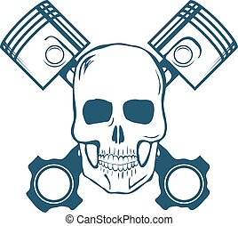 Skull and Pistons. t-shirt graphic. Vector