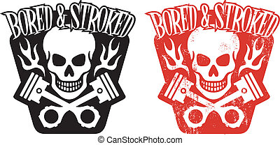 Skull and Pistons - Vector illustration of skull and crossed...