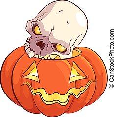 Illustration of skull and pumpkin