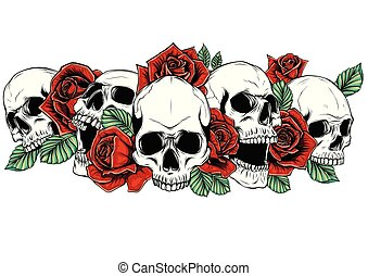 Skull and roses flowers hand drawn illustration. Tattoo vintage print. Skull and red roses. Floral print.