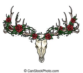Skull and Roses label design. - Skull and Roses hand drawn...