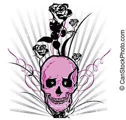 Skull and roses Vector illustration