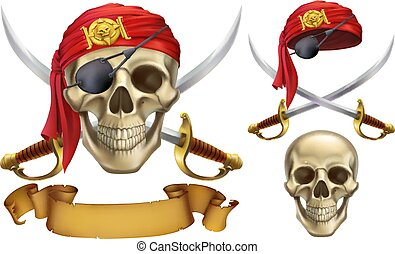 Skull and sabers. Pirate emblem. 3d vector icon set