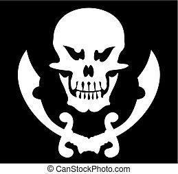 Skull and sabres on a black background. A vector illustration