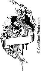 skull and snake - Vector illustration skull and snake