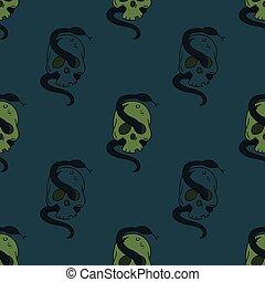 Skull and snake seamless pattern