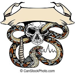 skull and snake template with ribbon