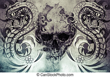 Skull and snakes. Tattoo design over grey background....