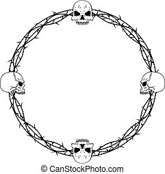 Skulls and thorn vines vector decorative border