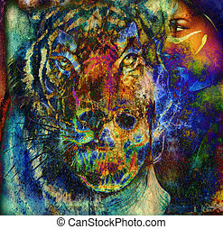 Skull and tiger with woman face  Color abstract background, computer collage.
