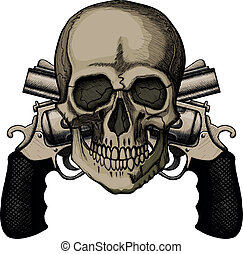 Skull and two crossed revolvers. The illustration on white...
