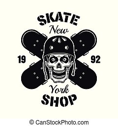 Skull and two crossed skateboards vector emblem