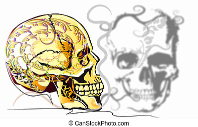 skull art and line Thai decoration style background