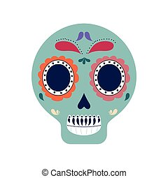 skull art mexican culture icon. Vector graphic