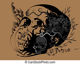 skull art tattoo