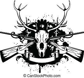 skull artiodactyl and crossed guns - Vector illustration...