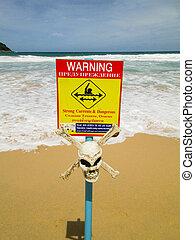 skull., avvertimento, correnti, forte, segno