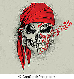 Skull Background - illustration of skull with bandana on...