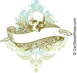 Highly detailed banner skull illustration with textured detailed background.