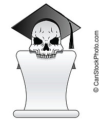 Skull banner - Skull in graduation cap with unfurled diploma...