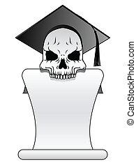 Skull banner - Skull in graduation cap with unfurled diploma...
