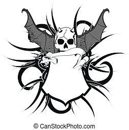 skull bat wings sticker tattoo1